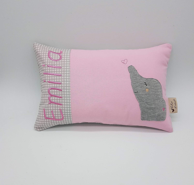 Kleines Kissen mit WunschnamenElefant