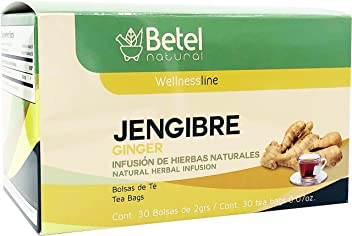 Jengibre Tea/Ginger Tea by Betel Natural - Amazing Gastric Support - 30 Tea Bags