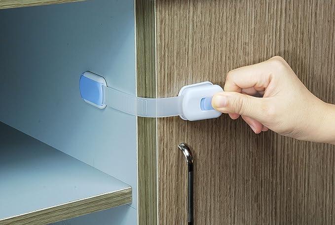 KIDUKU® Juego de 6 seguros para bloquear y cerrar cajones | armarios | puertas | tapas de WC | para niños y bebés | No se atornilla, ...
