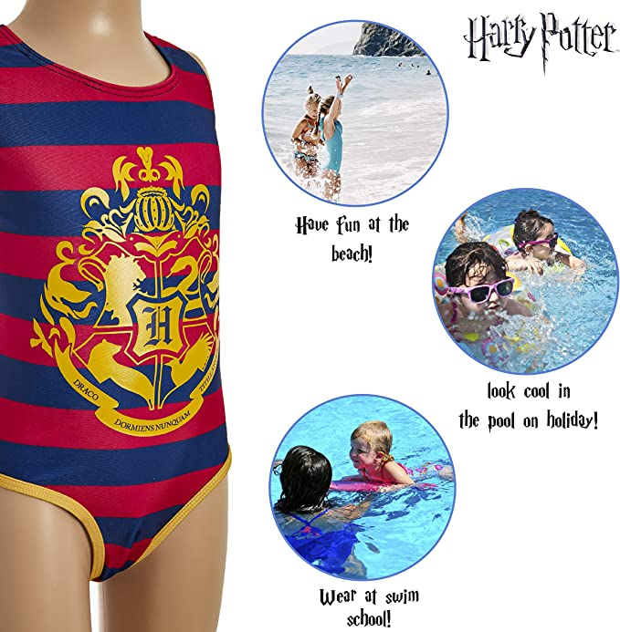 Harry Potter Girls Swimsuit with Hogwarts Design Official Merchandise Striped Swimwear One Piece Swimming Costume Gifts for Girls Teenagers Ages 5 to 14 Years
