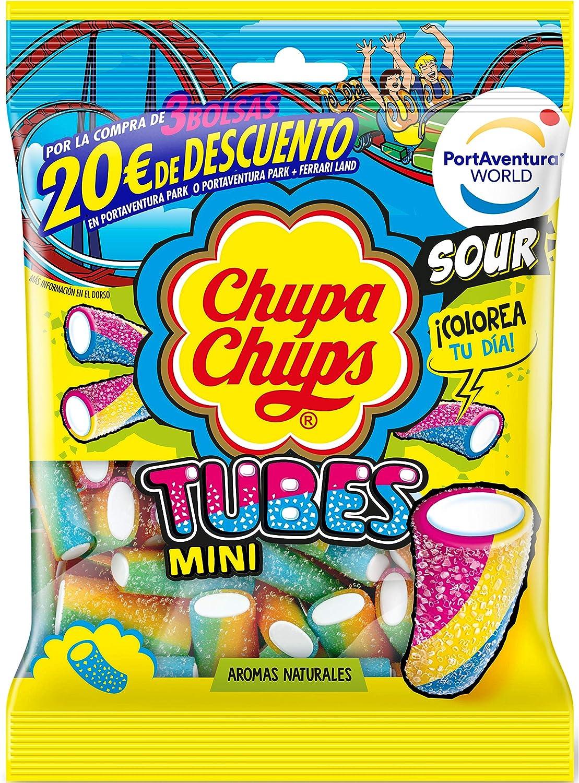 Chupa Chups Gomis, Golosinas de Sabor Frutal con Aromas Naturales, Bolsa de Tubos Ácidos de 150 gr.