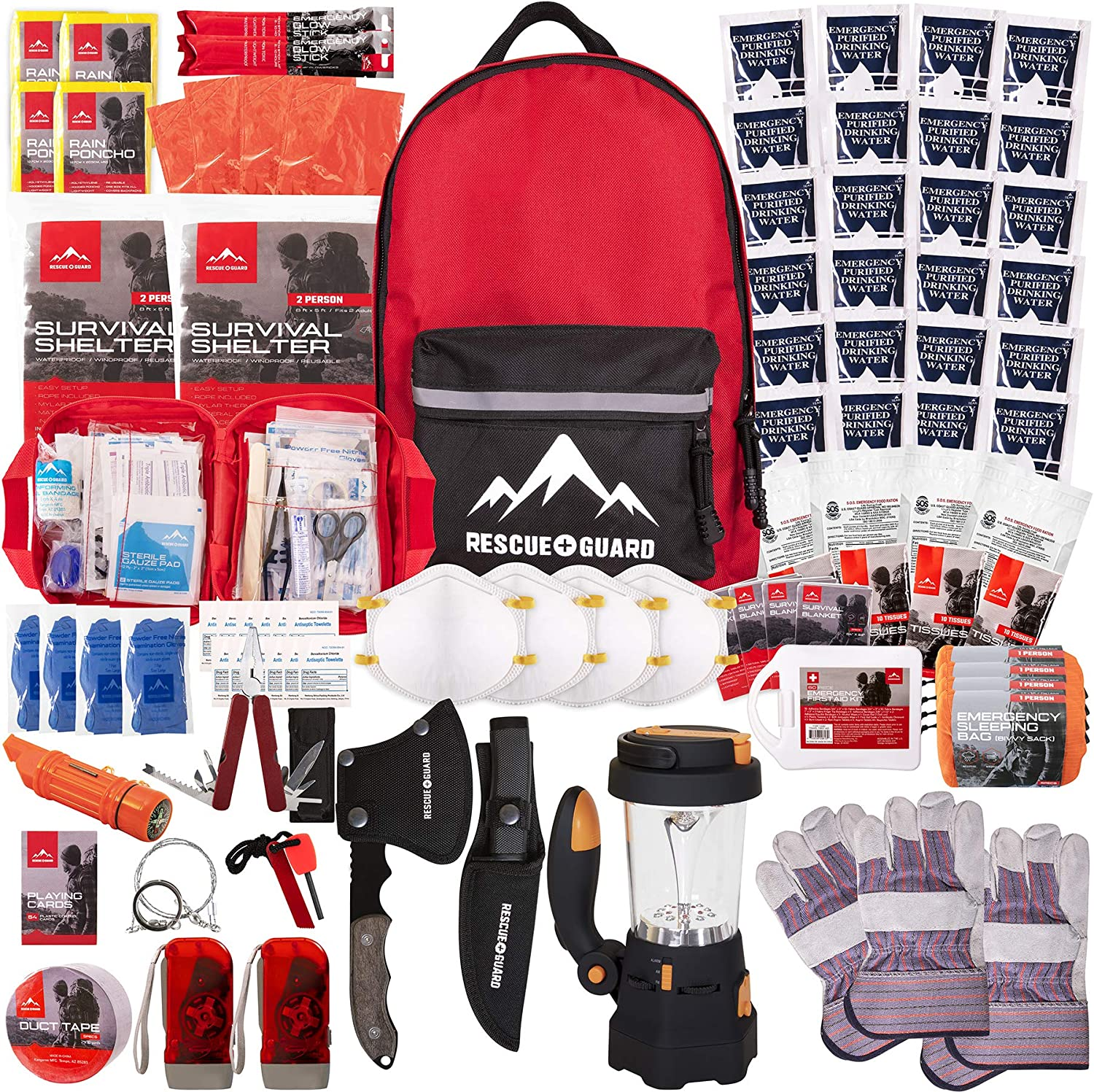 Rescue Guard First Aid Kit Hurricane Disaster or Earthquake Emergency Survival Bug Out Bag Supplies for Families - 72 Hours of Disaster Preparedness Supplies (Premium Survival Pack)