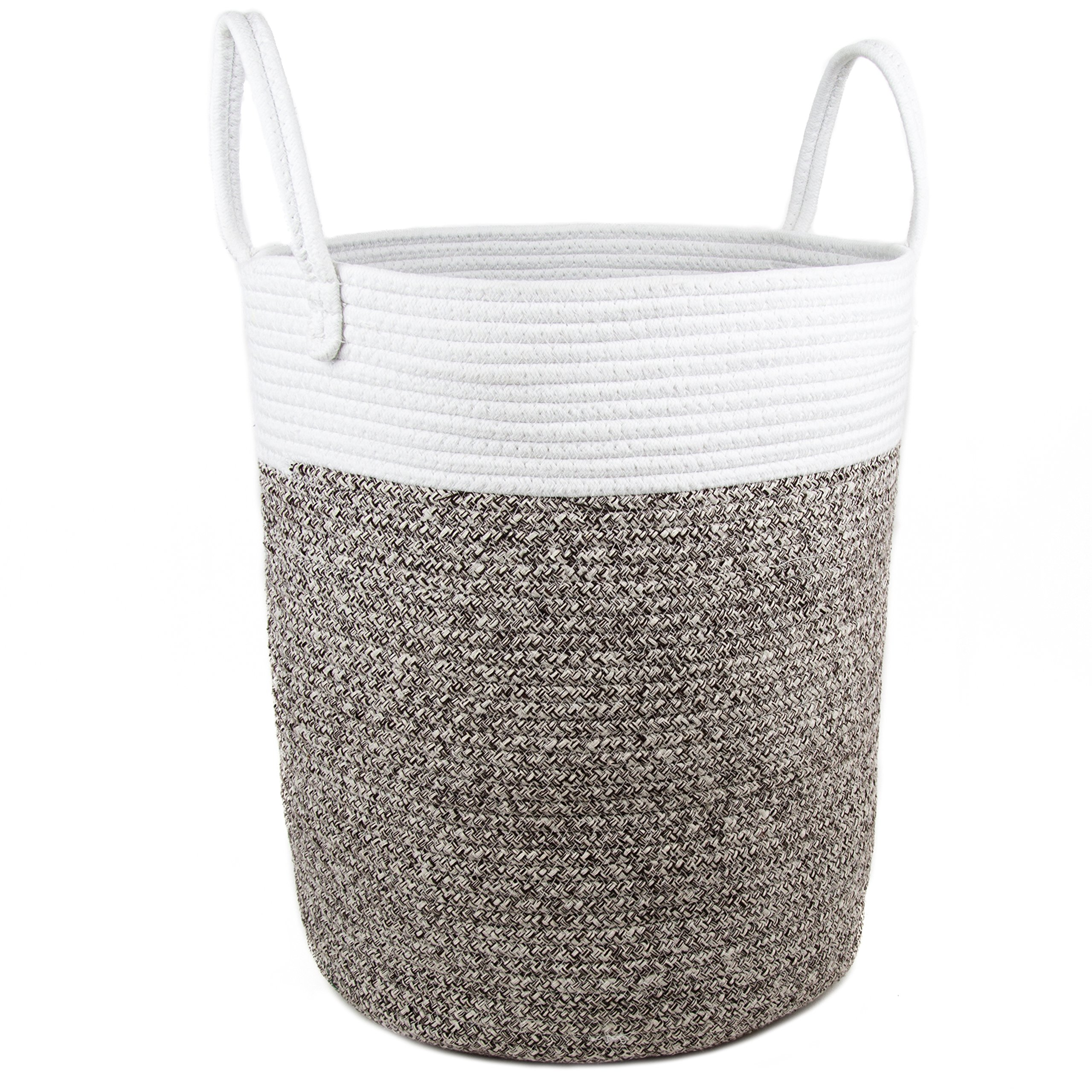 Comfy Cottage Large Rope Basket - 17'' x 15'' Woven Basket with Handle, Tall Round Basket, Big Cotton Woven Basket | White + Brown