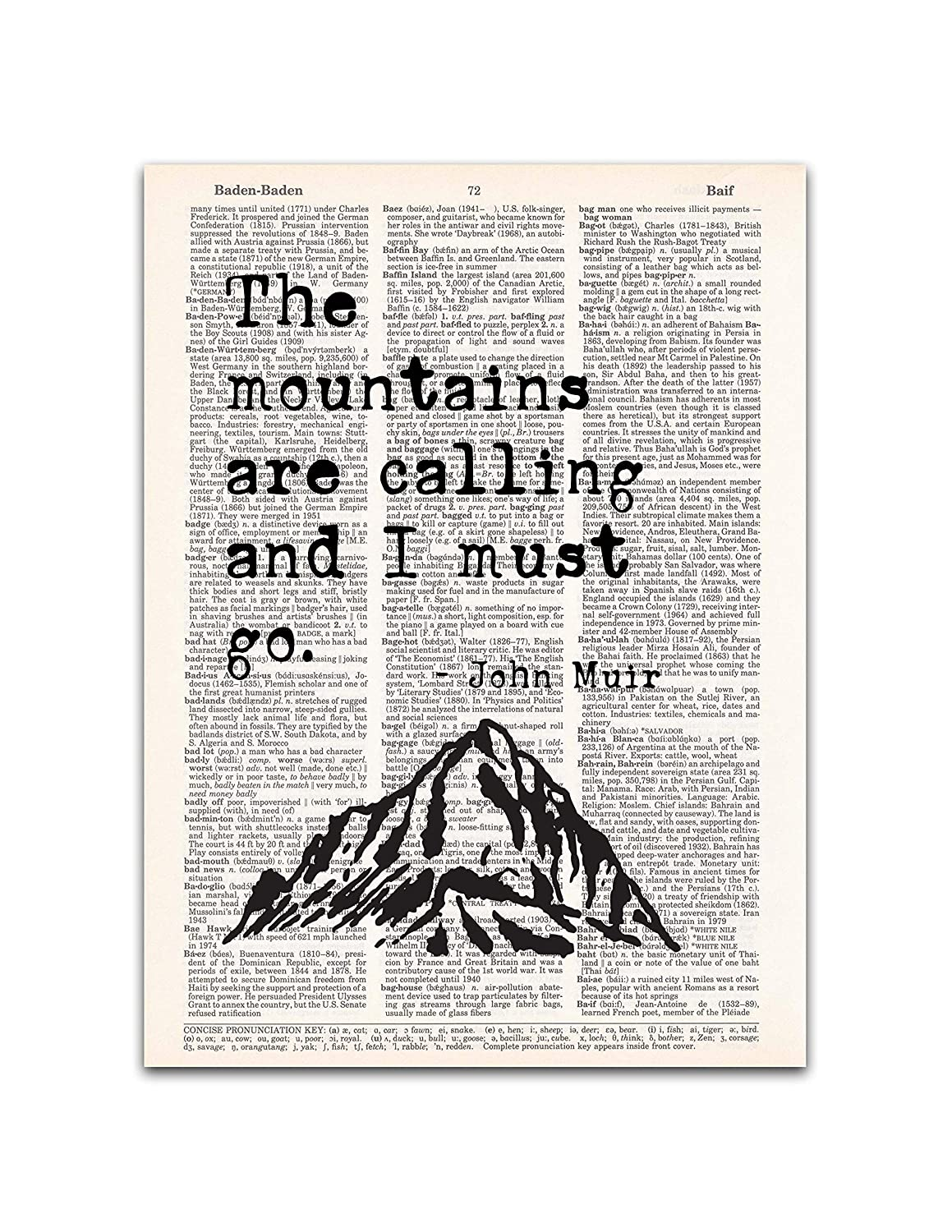 Mountains are Calling, John Muir Quotes Wall Art, Vintage Dictionary Page Print