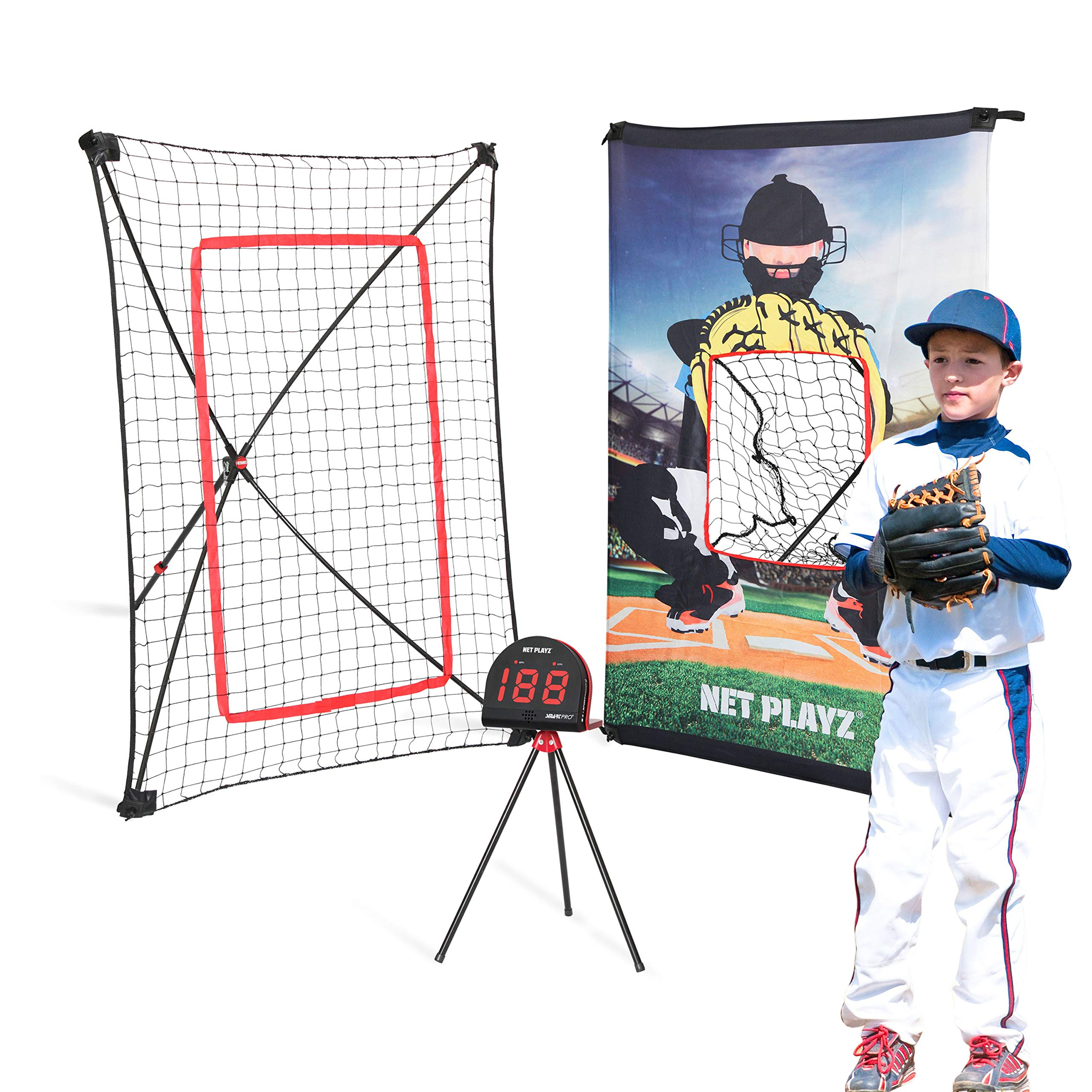 Net Playz Smart Baseball Trainer Combo with 1 set Sport Radar, 3-Feet by 5-Feet Pitchback Rebounder Net and Pitching Target Panel with Carry Bag /1 Pc Baseball and Softball Included by NET PLAYZ