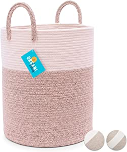 "OrganiHaus Extra Large Cotton Rope Laundry Hamper Basket in Tan Brown and Off-White | Large Blanket Basket for Living Room with Long Handles | Wicker and White Basket for Blanket Storage Bin (15""x18"")"