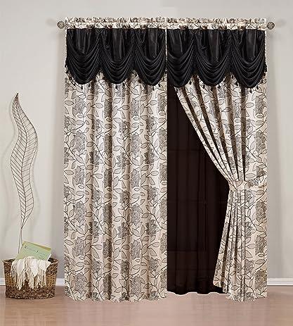 elegant home beautiful black beige window embroidery curtain drapes allinone set with