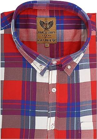 Camisa de manga corta para hombre, tamaño grande, color azul marino y negro, estilo a cuadros, bolsillo en el pecho, tamaño king: Amazon.es: Ropa y accesorios