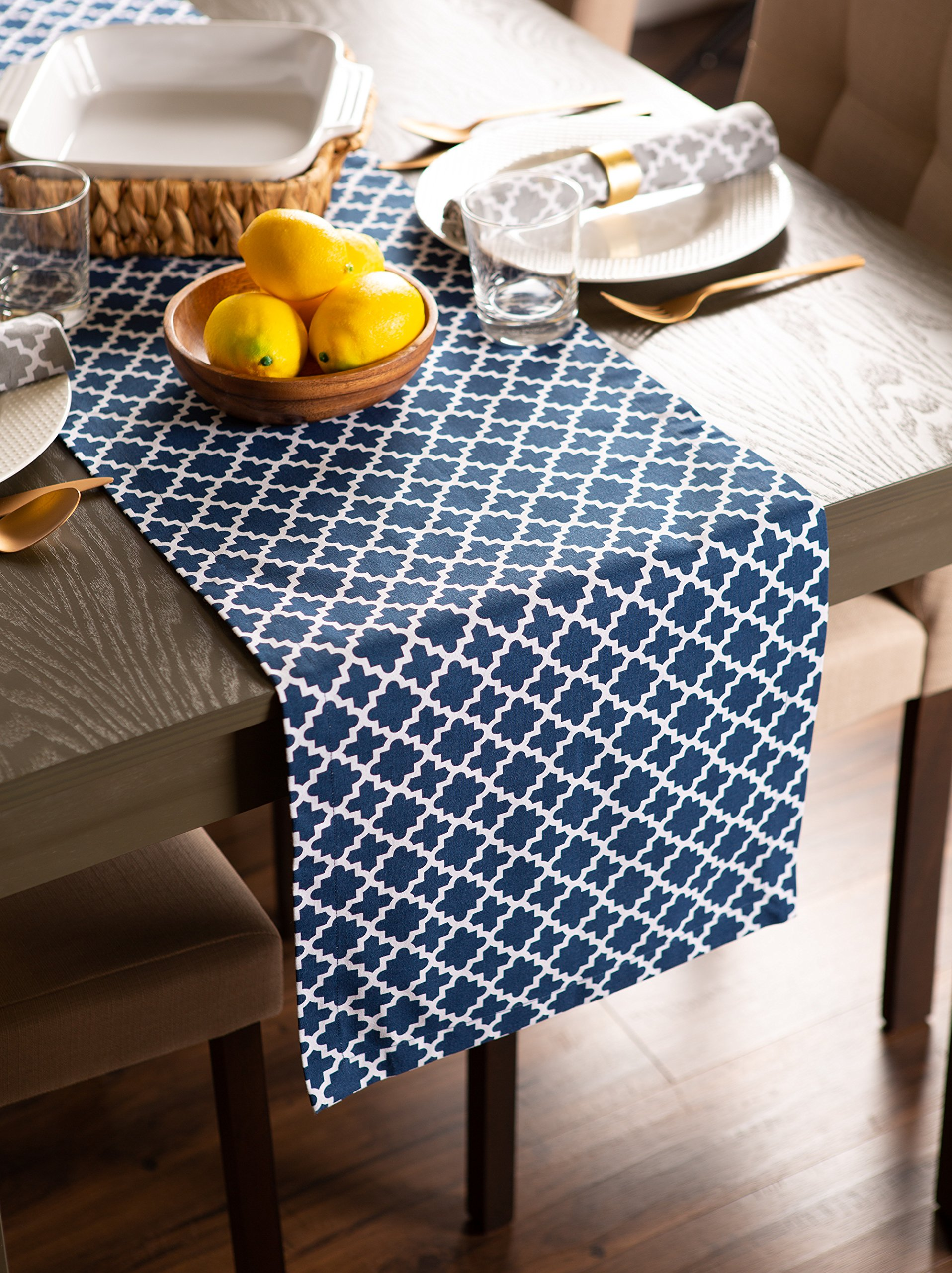 DII Lattice Cotton Table Runner for Dining Room, Foyer Table, Summer Parties and Everyday Use - 14x108'', Nautical Blue and White by DII (Image #7)