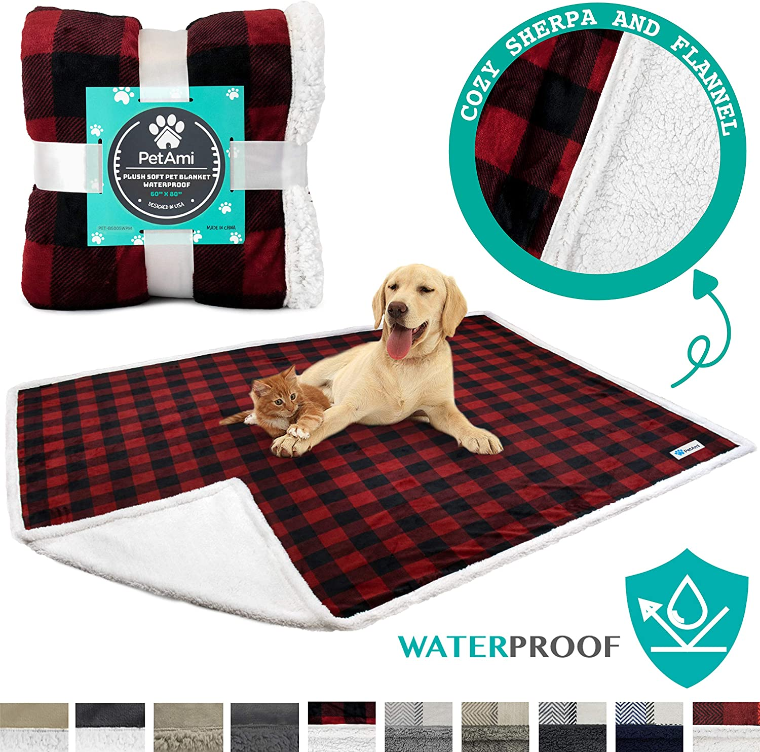 PetAmi Waterproof Dog Blanket for Bed, Couch, Sofa | Waterproof Dog Bed Cover for Large Dogs | Sherpa Fleece Pet Blanket Furniture Protector | Reversible Microfiber | 80 x 60 (Checkered Red) : Pet Supplies