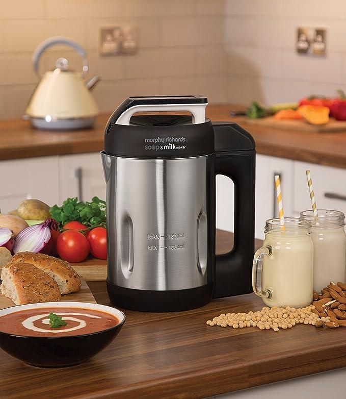 Termo eléctrico para hacer sopa y leche de Morphy Richards 501000, 1,6 l, 1000 W, acero pulido Fabrica sopa y leche Brushed: Amazon.es: Hogar