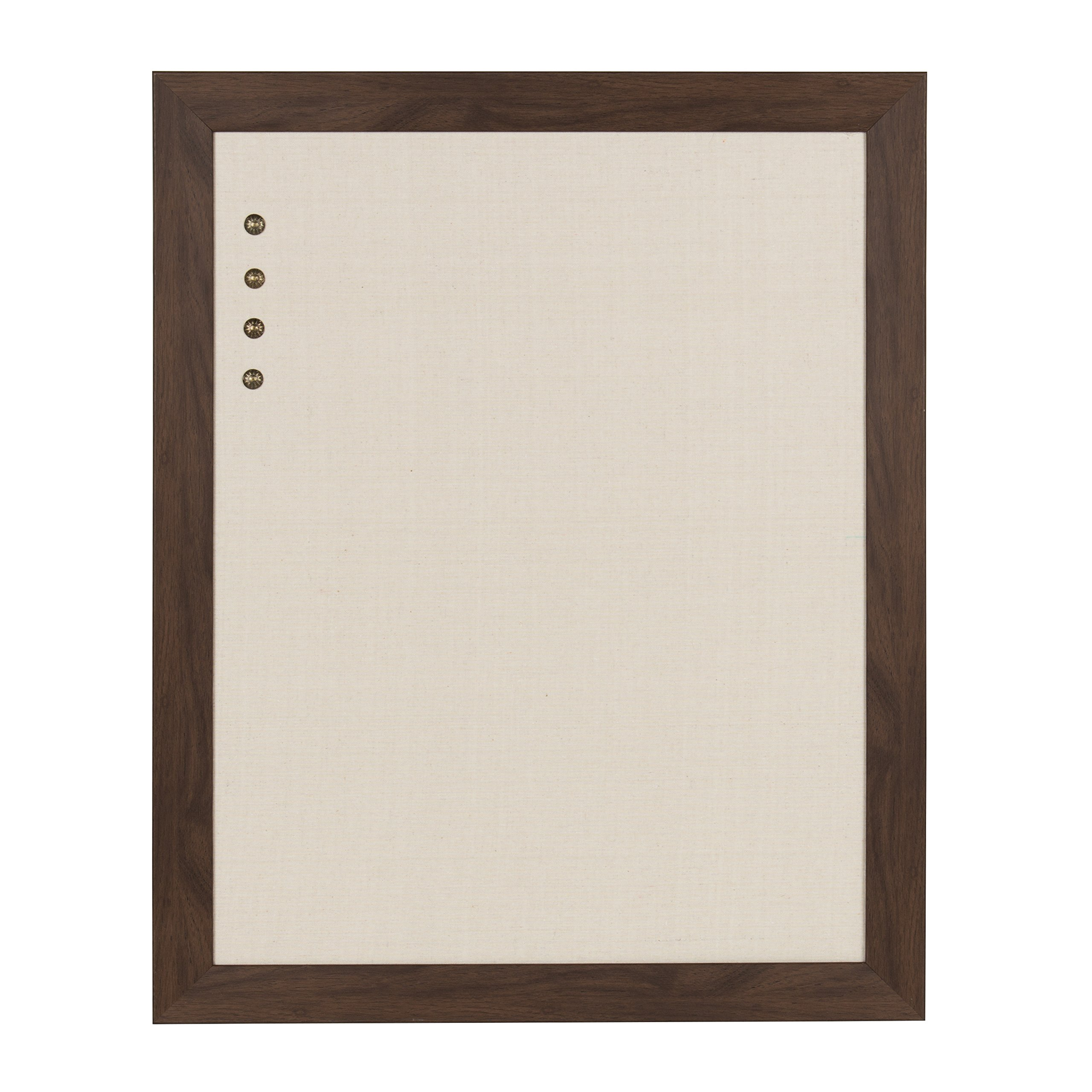 DesignOvation Beatrice Framed Linen Fabric Pinboard, 23x29, Walnut Brown