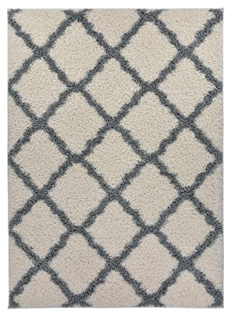 trellis ivory offwhite grey shag area rug rugs shaggy collection ivory