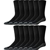 Men's Crew X-Large Work Socks - Size 13-15 - 12 Pack - Cushioned Sole - Mesh Ventilation - Arch Support