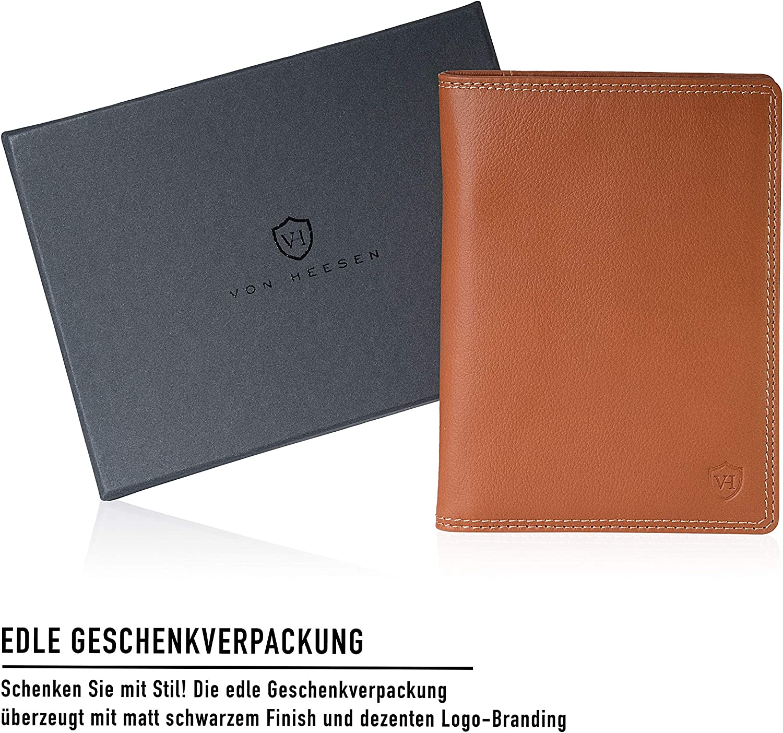 VON HEESEN Reisepassh/ülle Leder RFID Schutz Reise-Etui Passh/ülle Reisepass Mappe Reisepassetui Passport H/ülle Damen Herren Geschenk Schwarz