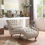 Rosevera TeofilaTufted Chaise Lounge Chair, Standard, Beige