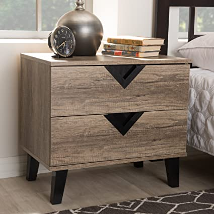 Amazon Com Baxton Studio Swanson Wood 2 Drawer Nightstand In