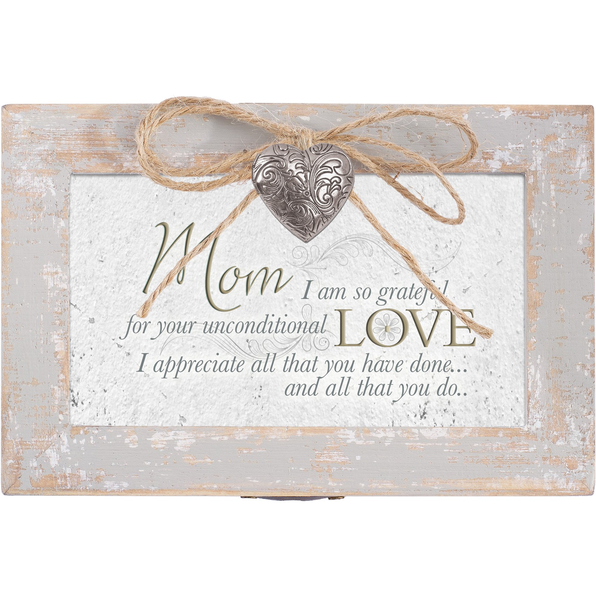 Mom Grateful for Love Distressed Wood Locket Jewelry Music Box Plays Tune Wind Beneath My Wings by Cottage Garden (Image #3)