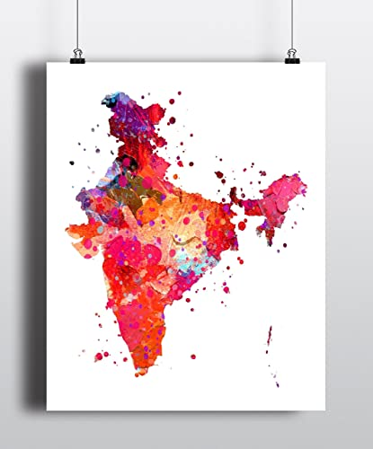Amazon.com: India Map Art Print, Poster, Wall Art, Contemporary Art ...