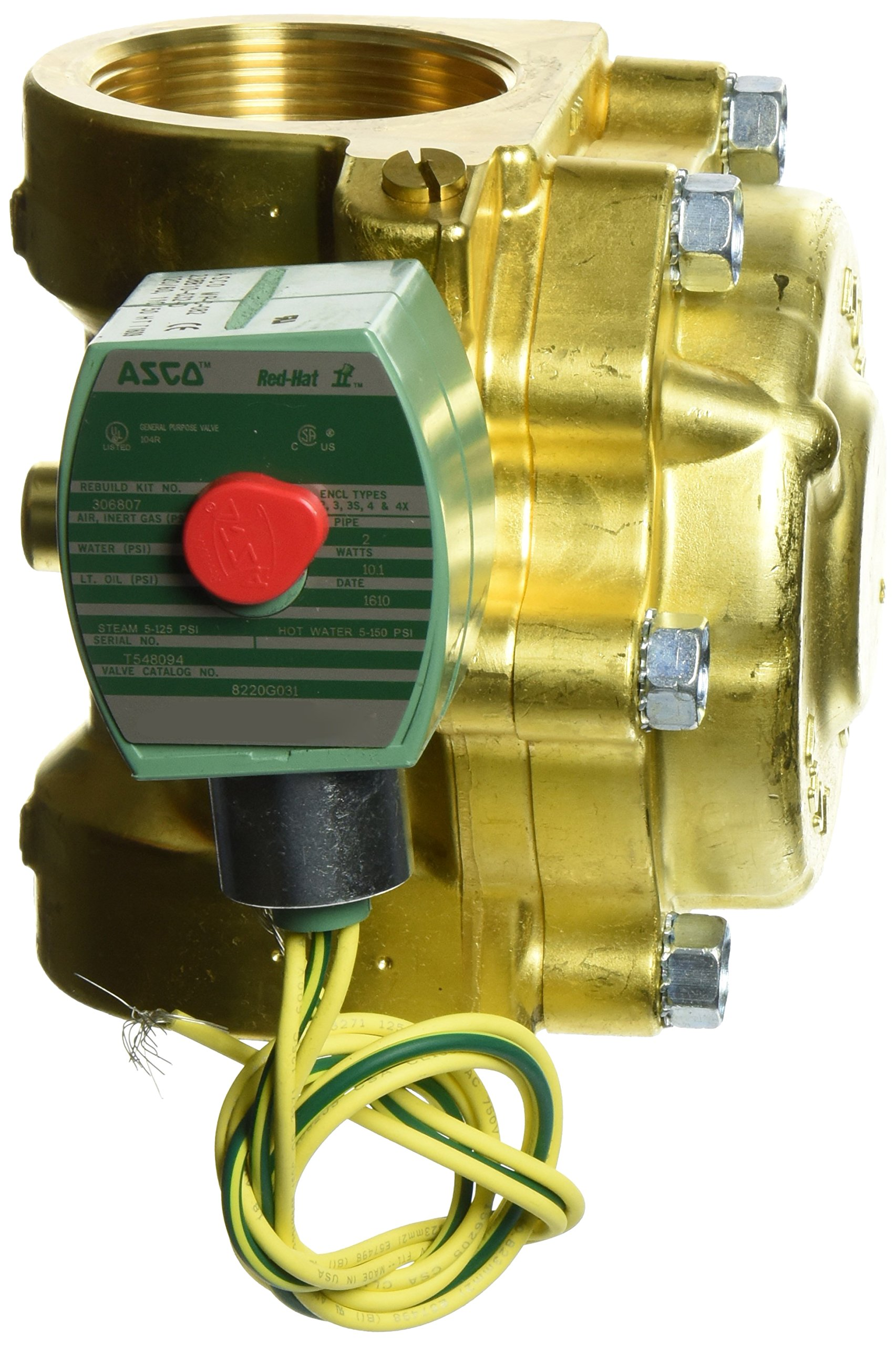ASCO 8220G031 -120/60,110/50 Brass Body Hot Water and Steam Pilot Operated Diaphragm and Piston Valve, 2'' Pipe Size, 2-Way Normally Closed, PTFE Sealing, 1-3/4'' Orifice, 43 Cv Flow 120V/60 Hz, 110V/50 by Asco (Image #2)