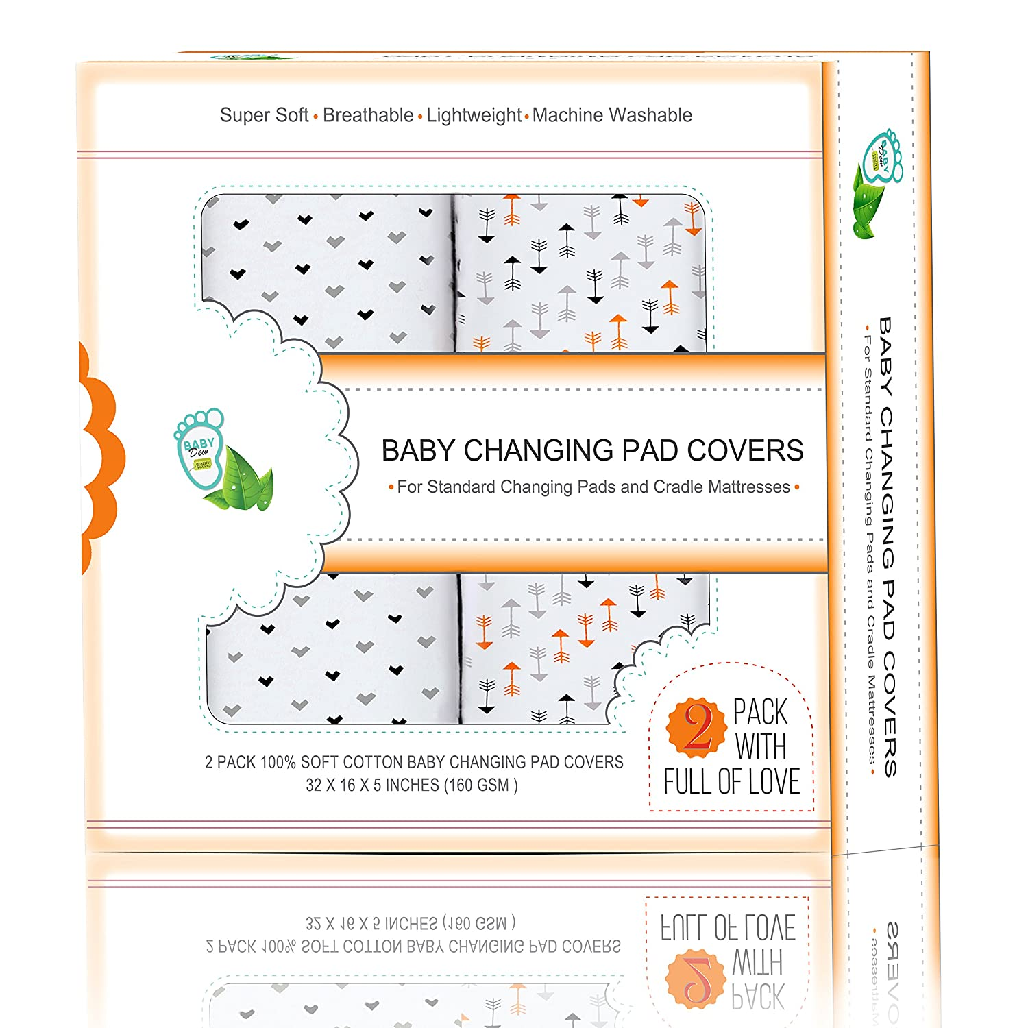 Baby Diaper Changing Pad Covers 2 Pack 32x16x5'' For Cradle Mattresses & Standard Pads | Lovely Patterns & Unisex Colors | Breathable Cotton Fabric Protect your Baby's Skin | Minimize Wetness & Stains BabyDew