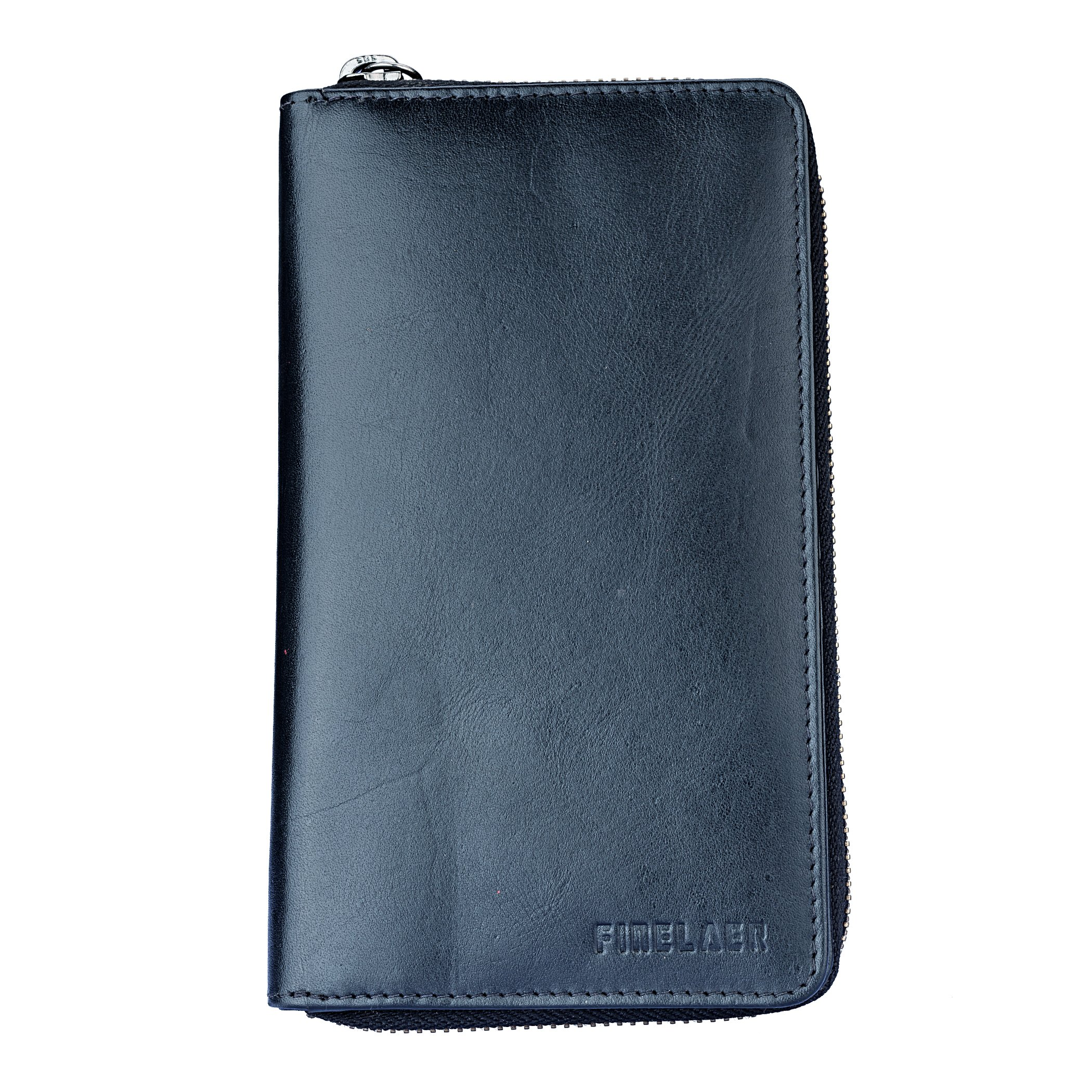 Leather Bifold Travel Wallet Passport Black|Finelaer by FINELAER (Image #1)