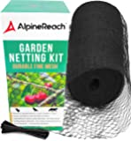 AlpineReach Garden Netting Kit 7.5 x 65 Feet Black Woven Mesh - Extra Heavy Duty Protect Plants Fruits Flowers Trees…