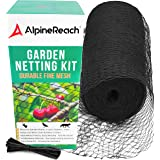 AlpineReach Garden Netting Kit 7.5 x 65 Feet Black Heavy Duty Woven Mesh - Protect Plants Fruits Flowers Trees - Stretch Fenc