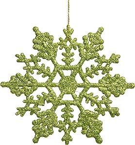 Vickerman Plastic Glitter Snowflake, 4-Inch, Lime, 24 Per Box