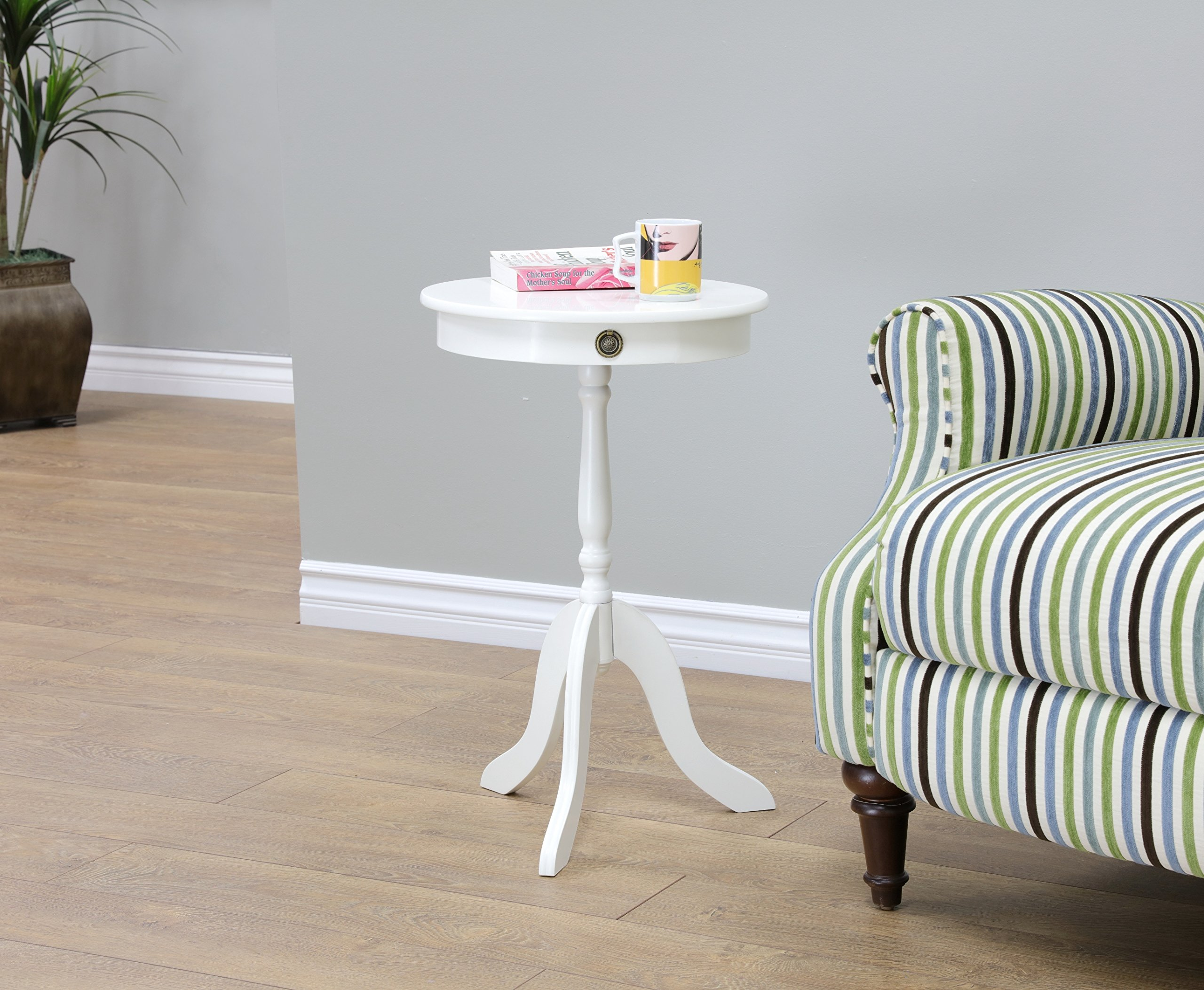 Frenchi Home Furnishing Tea/Side Occasional Table, White