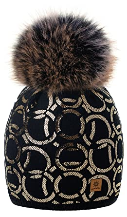 3324ec22bf4 4sold Circle Womens Girls Winter Hat Wool Knitted Beanie with Large Pom Pom  Cap Ski Snowboard Bobble Colour Black Gold Fleece Lining  Amazon.co.uk   Clothing