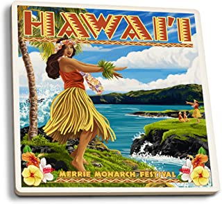 product image for Lantern Press Hawaii - Hula Girl on Coast - Merrie Monarch Festival (Set of 4 Ceramic Coasters - Cork-Backed, Absorbent)