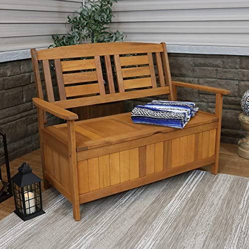 Sunnydaze Meranti Wood Outdoor Storage Bench with Teak Oil Finish – Outside Furniture Seating for Patio, Garden, Deck, Porch and Balcony – Backyard Yard and Lawn Organizer – 47-Inch