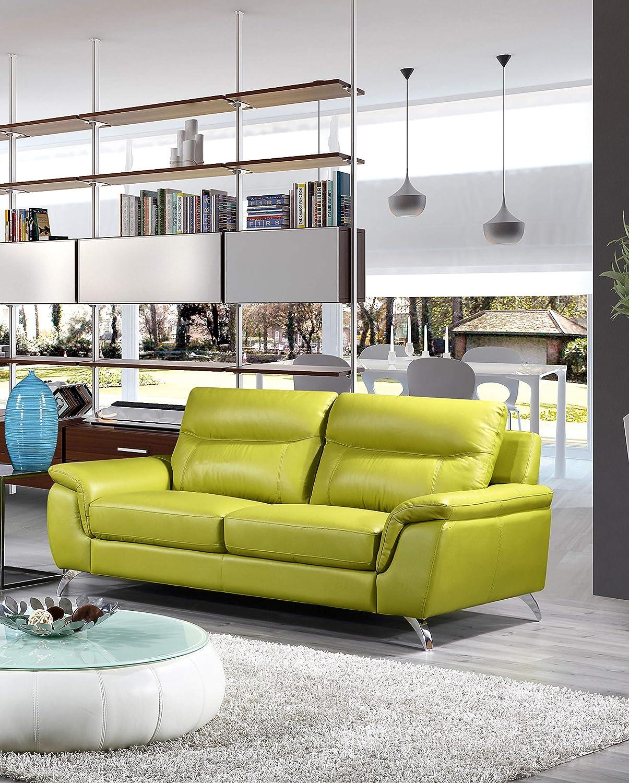 Cortesi Home Chicago Genuine Leather Sofa, Green