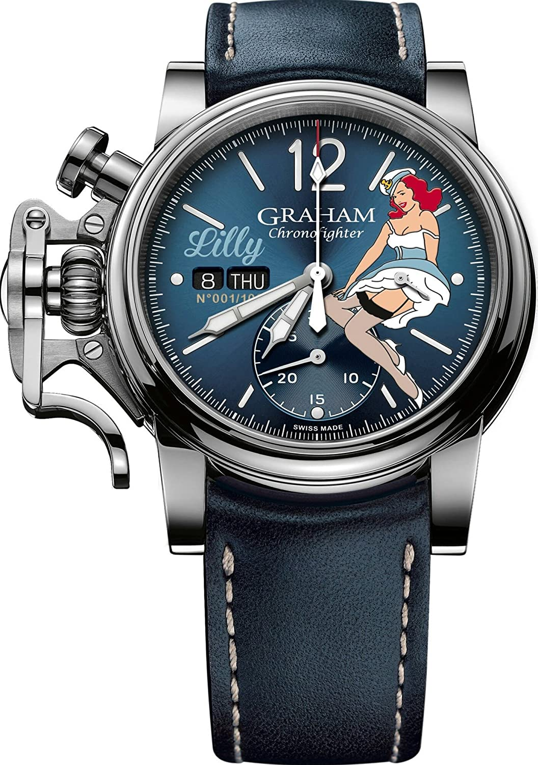 Graham Watch Chronofighter Vintage Nose Art WWII Pin Up Girl Lilly Limited Edition 2CVAS.U05A.L129S