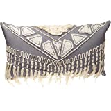 "Rizzy Home T12351 Decorative Lumbar Poly Filled Throw Pillow 14"" x 26"" Gray/White"