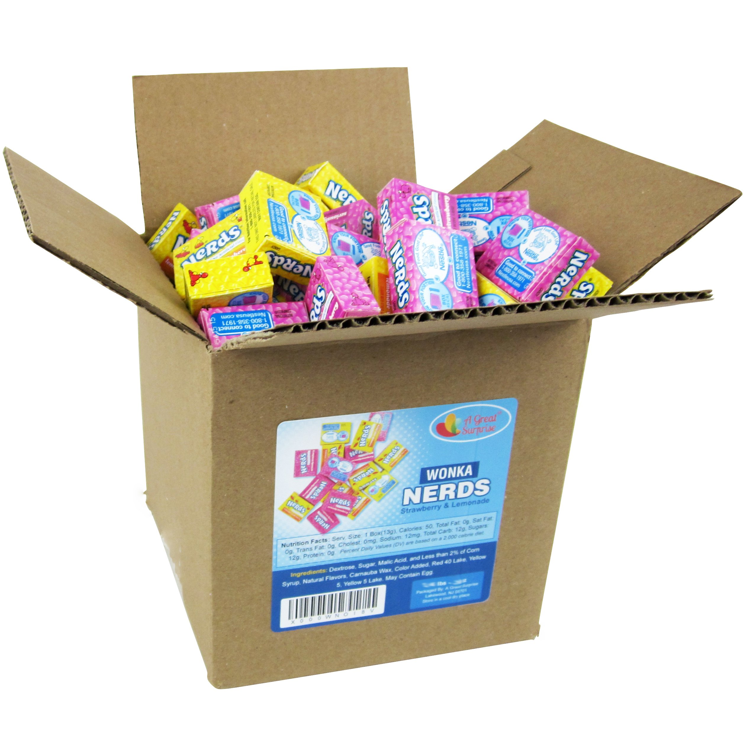 Nerds Candy - Wonka Nerds Mini Boxes, Strawberry and Lemonade Wild Cherry Assortment, 4 LB Box Bulk Candy (Approx. 100 Mini Boxes) by A Great Surprise (Image #3)