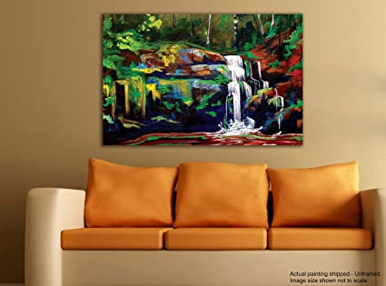 Fabulous Tamatina Canvas Painting Gorgeous Waterfall Home Decor Home Interior And Landscaping Ologienasavecom