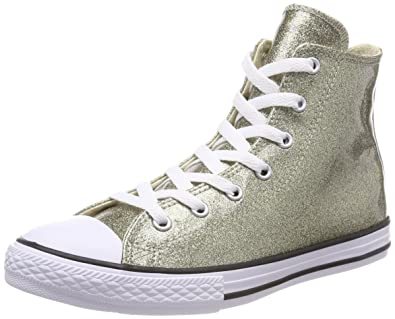 34258f663564 Image Unavailable. Image not available for. Color  Converse Chuck Taylor All  Star Glitter Hi Junior Trainer Shoe Gold ...