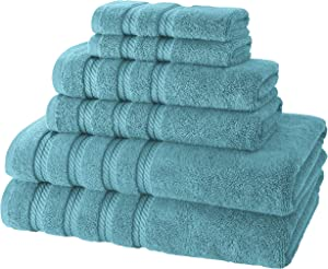 Classic Turkish Towels 6 Piece Towel Set - Soft Premium Heavy Duty and Fast Drying Towels Made With 100% Turkish Cotton (Aqua, 6 Piece Set)