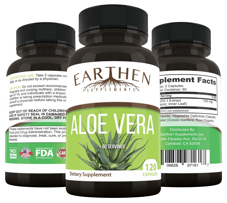Organic Aloe Vera Supplement Equivalent to 20,000mg- RAW All Natural Non-GMO 120 Capsules