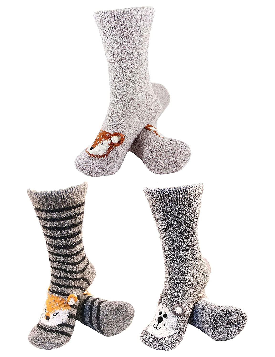 BambooMN Super Soft Warm Cute Animal Face Non-Slip Fuzzy Crew Winter Home Socks, Value Pack