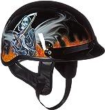 808-BK-REAPER Flame Reaper Black Motorcycle Cruiser Biker Beanie Half Helmet DOT (Small)