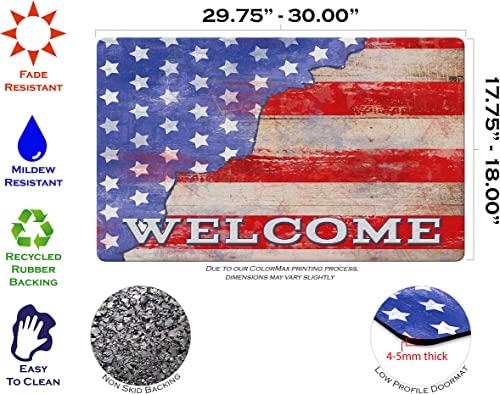 Toland Home Garden Freedom Stars Stripes 18 x 30 Inch Decorative Welcome Floor Mat Patriotic Doormat