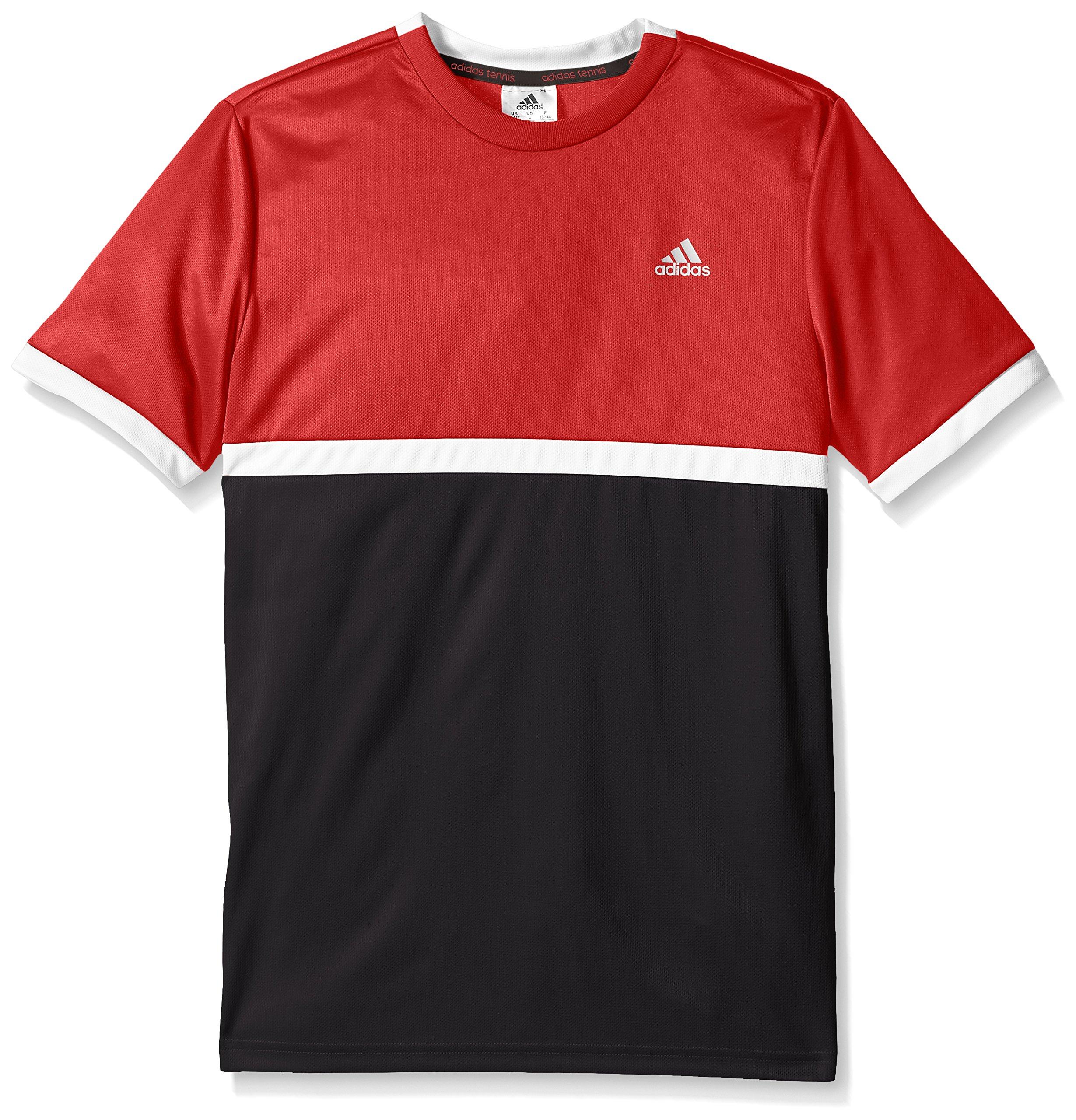 adidas Boys Tennis Court Tee, Scarlet/White/Black, Medium