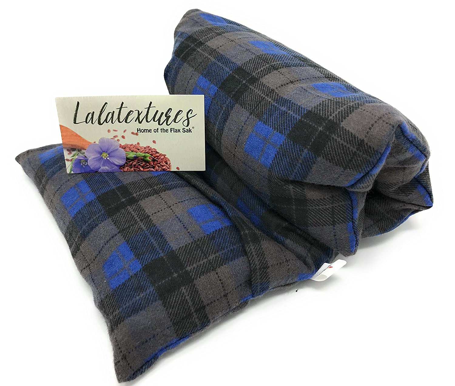 The Flax Sak Large Lavender Scented Microwavable With Washable Cover Hot//Cold Pack Charcoal Grey and Blue.