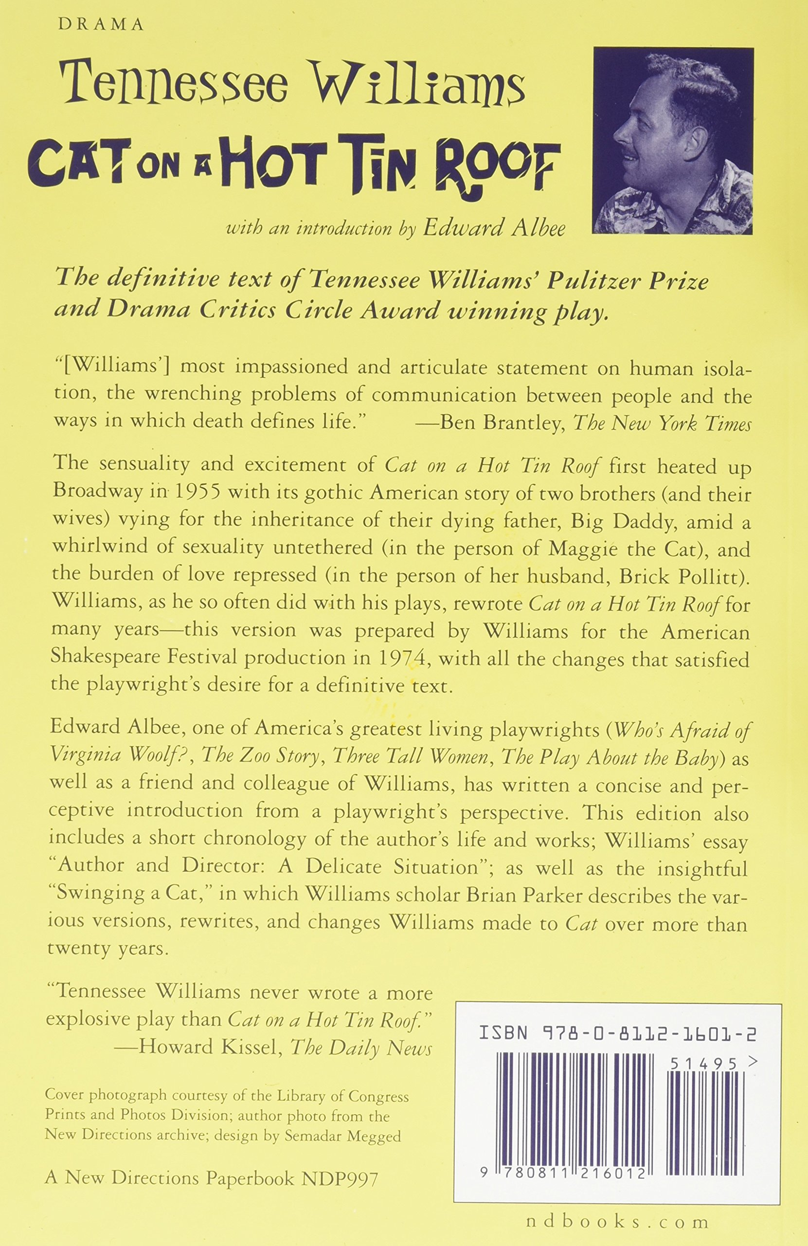 cat on a hot tin roof tennessee williams edward albee cat on a hot tin roof tennessee williams edward albee 9780811216012 books ca