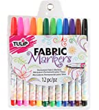 Tulip Permanent Nontoxic Fabric Markers 12 Pack - Fine Bullet Tip, Child Safe, Minimal Bleed & Fast Drying - Premium Quality for T-shirts, Clothes, Shoes, Bags & Other Fabric Materials