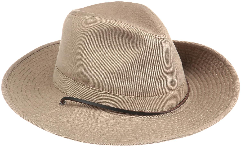 Dorfman Pacific Men's 1 Piece Garment Washed Twill Safari Hat with Side Snaps MC8