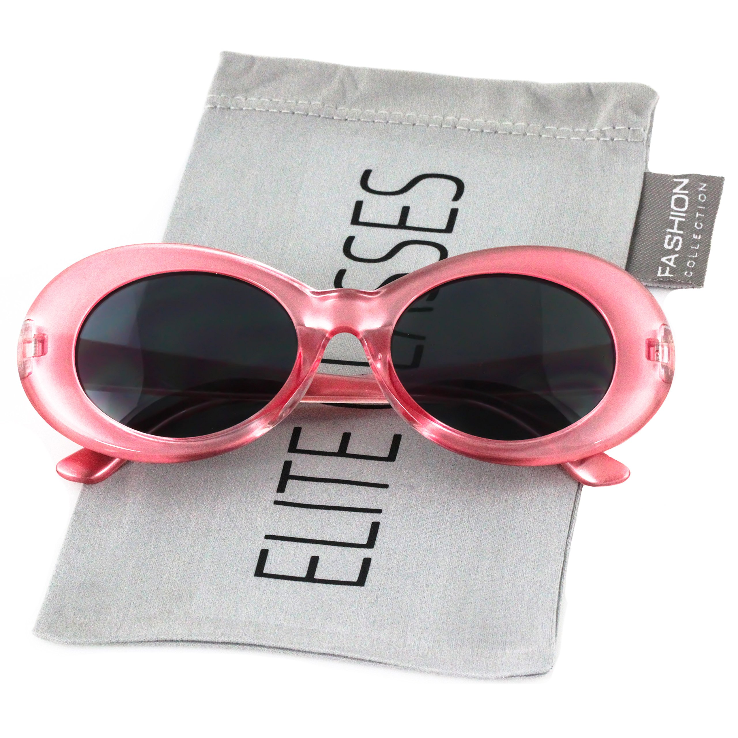 fde44005d3 Galleon - Clout Goggles Oval Hypebeast Eyewear Supreme Glasses Cool  Sunglasses (Transparent Pink